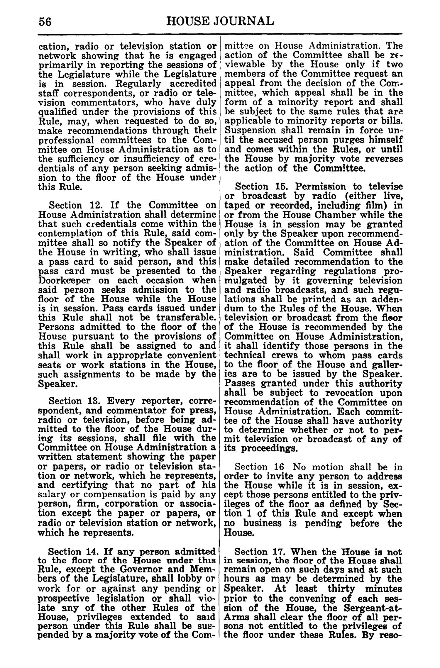Journal of the House of Representatives of the Regular Session of the Sixtieth Legislature of the State of Texas, Volume 1                                                                                                      56