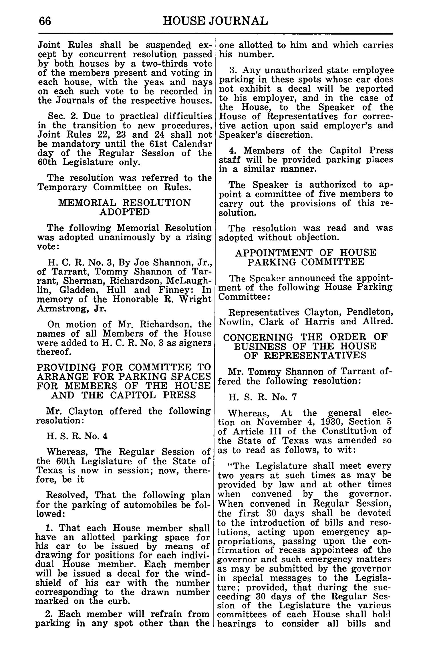 Journal of the House of Representatives of the Regular Session of the Sixtieth Legislature of the State of Texas, Volume 1                                                                                                      66