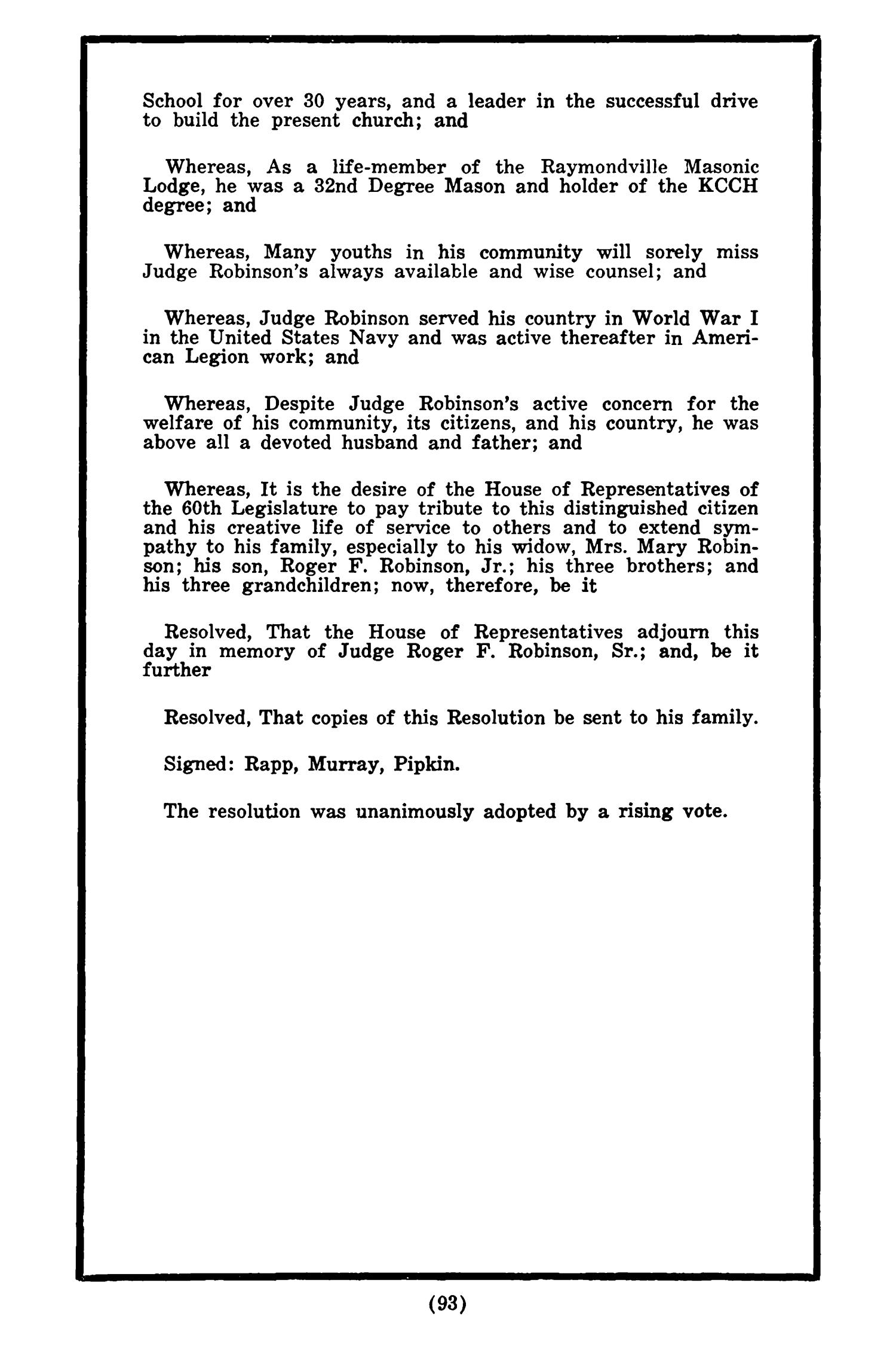 Journal of the House of Representatives of the Regular Session of the Sixtieth Legislature of the State of Texas, Volume 1                                                                                                      93