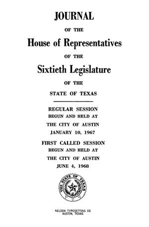 Primary view of object titled 'Journal of the House of Representatives of the Sixtieth Legislature of the State of Texas, Regular Session, Volume 2, and First Called Session'.