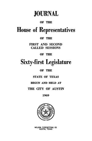 Primary view of object titled 'Journal of the House of Representatives of the First and Second Called Sessions of the Sixty-First Legislature of the State of Texas'.