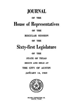 Primary view of object titled 'Journal of the House of Representatives of the Regular Session of the Sixty-First Legislature of the State of Texas, Volume 2'.