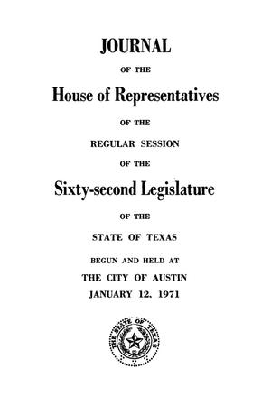 Primary view of object titled 'Journal of the House of Representatives of the Regular Session of the Sixty-Second Legislature of the State of Texas, Volume 1'.