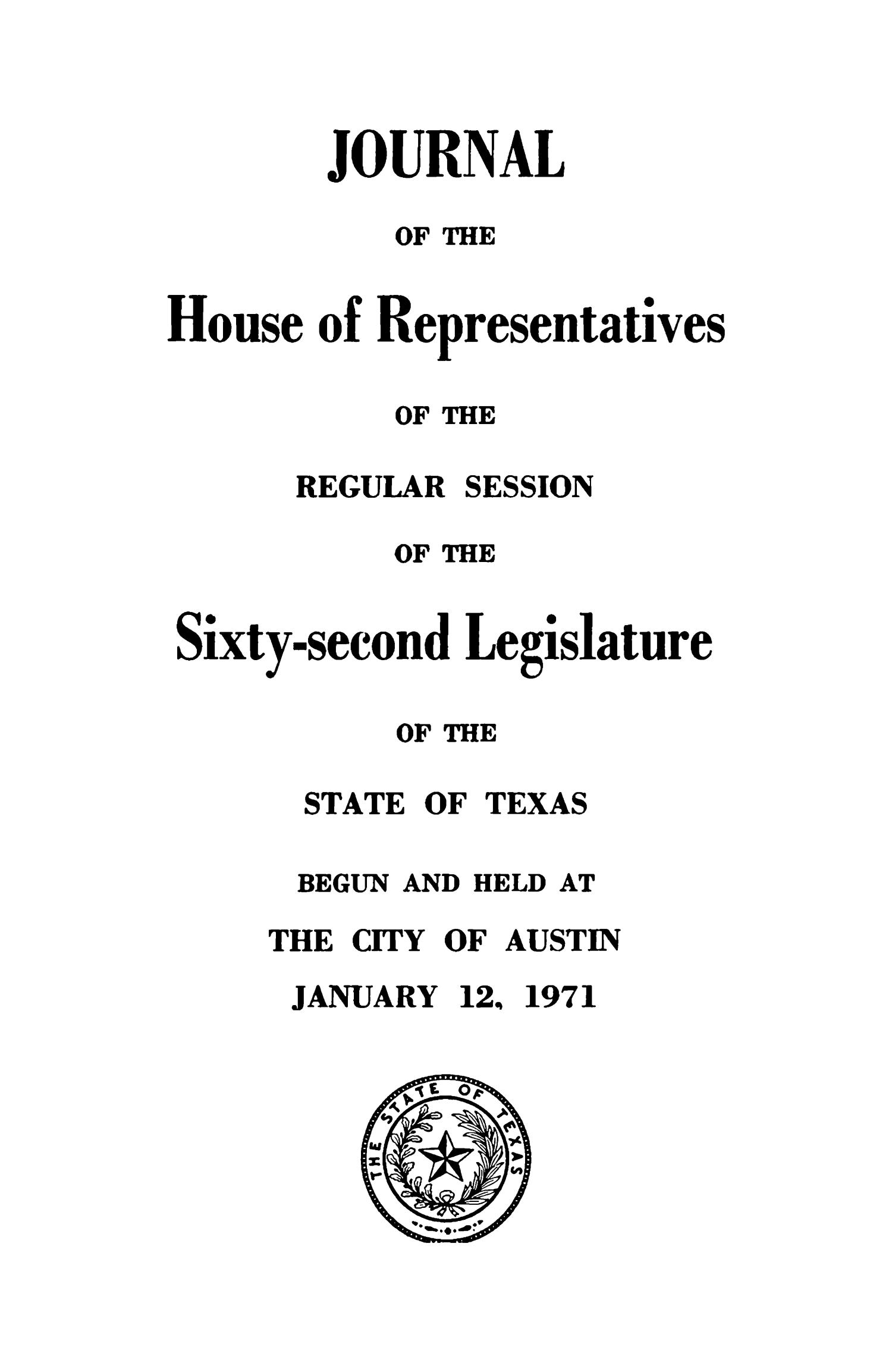Journal of the House of Representatives of the Regular Session of the Sixty-Second Legislature of the State of Texas, Volume 2                                                                                                      Title Page