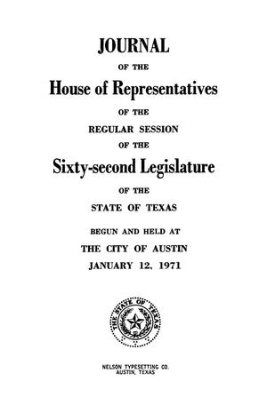Primary view of object titled 'Journal of the House of Representatives of the Regular Session of the Sixty-Second Legislature of the State of Texas, Volume 3'.
