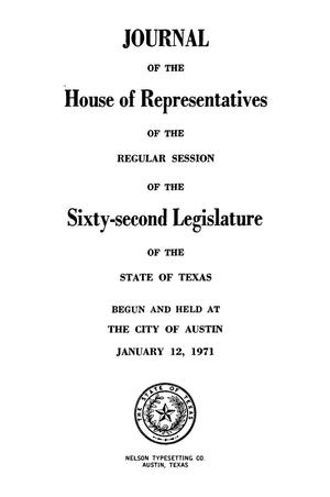 Primary view of object titled 'Journal of the House of Representatives of the Sixty-Second Legislature of the State of Texas, Regular Session, Volume 4, and the First, Second, Third, and Fourth Called Sessions'.