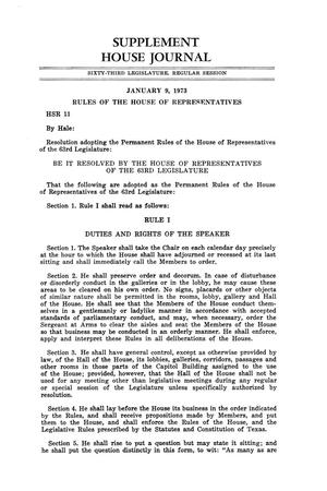 Primary view of object titled 'Journal of the House of Representatives of the Regular Session of the Sixty-Third Legislature of the State of Texas, Supplement'.