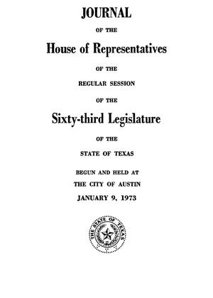 Primary view of object titled 'Journal of the House of Representatives of Regular Session of the Sixty-Third Legislature of the State of Texas, Volume 1'.