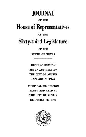 Primary view of object titled 'Journal of the House of Representatives of the Regular and First Called Sessions of the Sixty-Third Legislature of the State of Texas, Volume 3'.