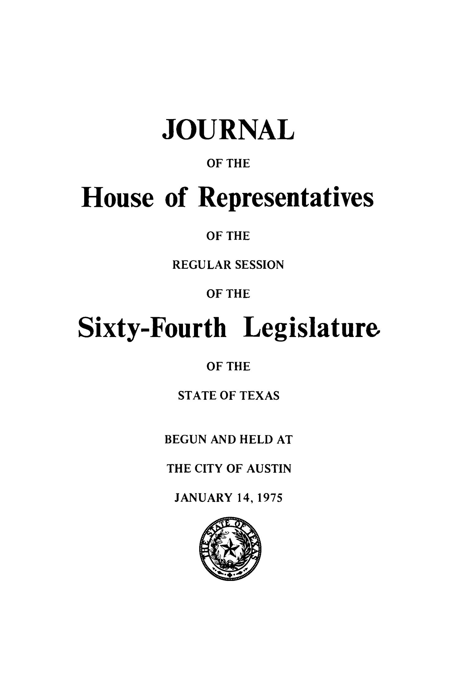 Journal of the House of Representatives of the Regular Session of the Sixty-Fourth Legislature of the State of Texas, Volume 1                                                                                                      Title Page