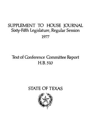 Primary view of object titled 'Journal of the House of Representatives of the Regular Session of the Sixty-Fifth Legislature of the State of Texas, Supplement'.