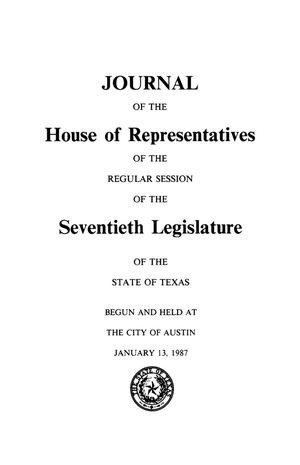 Primary view of object titled 'Journal of the House of Representatives of the Regular Session of the Seventieth Legislature of the State of Texas, Volume 4'.
