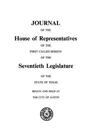 Primary view of object titled 'Journal of the House of Representatives of the Seventieth Legislature of the State of Texas, Volume 5: First and Second Called Sessions'.