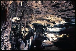 Primary view of object titled '[Stalactites and Stalagmites in Cave]'.