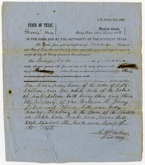 Primary view of object titled 'Documents pertaining to the case of The State of Texas vs. George Foos, cause no. 302, 1853'.