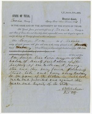 Documents pertaining to the case of The State of Texas vs. George Foos, cause no. 303, 1853