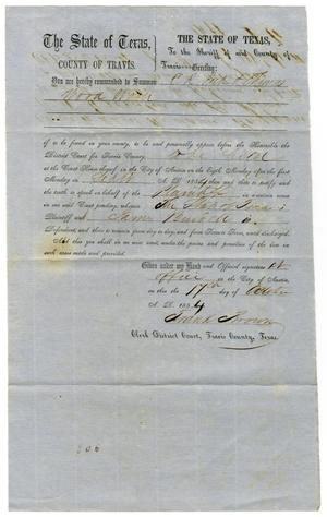 Primary view of object titled 'Documents pertaining to the case of The State of Texas vs. James Burdett, cause no. 306, 1853'.
