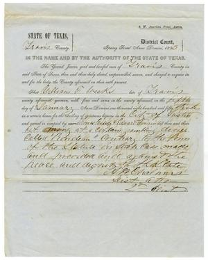 Primary view of object titled 'Documents pertaining to the case of The State of Texas vs. William F. Weeks, cause no. 307, 1853'.