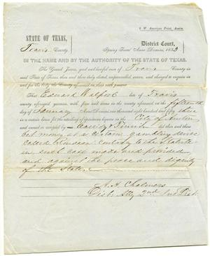 Primary view of object titled 'Documents pertaining to the case of The State of Texas vs. Edward Walpool, cause no. 315, 1853'.