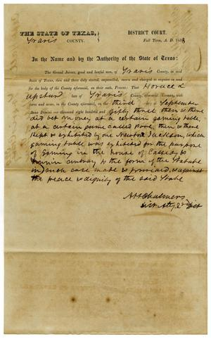Primary view of object titled 'Documents pertaining to the case of The State of Texas vs.Horace Upshur, cause no. 320, 1853'.