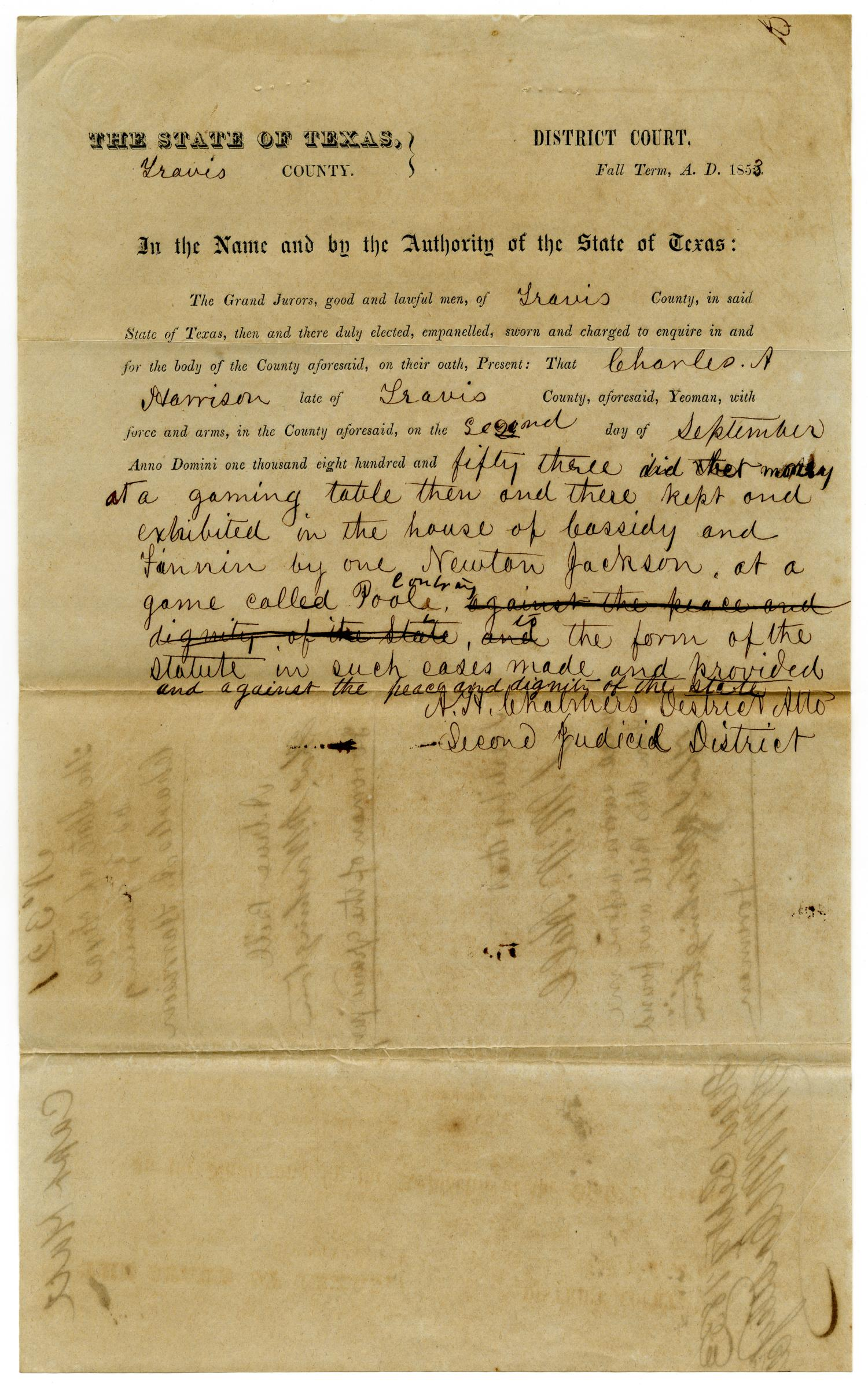 Documents pertaining to the case of The State of Texas vs. Charles A. Harrison, cause no. 321, 1853                                                                                                      [Sequence #]: 1 of 8