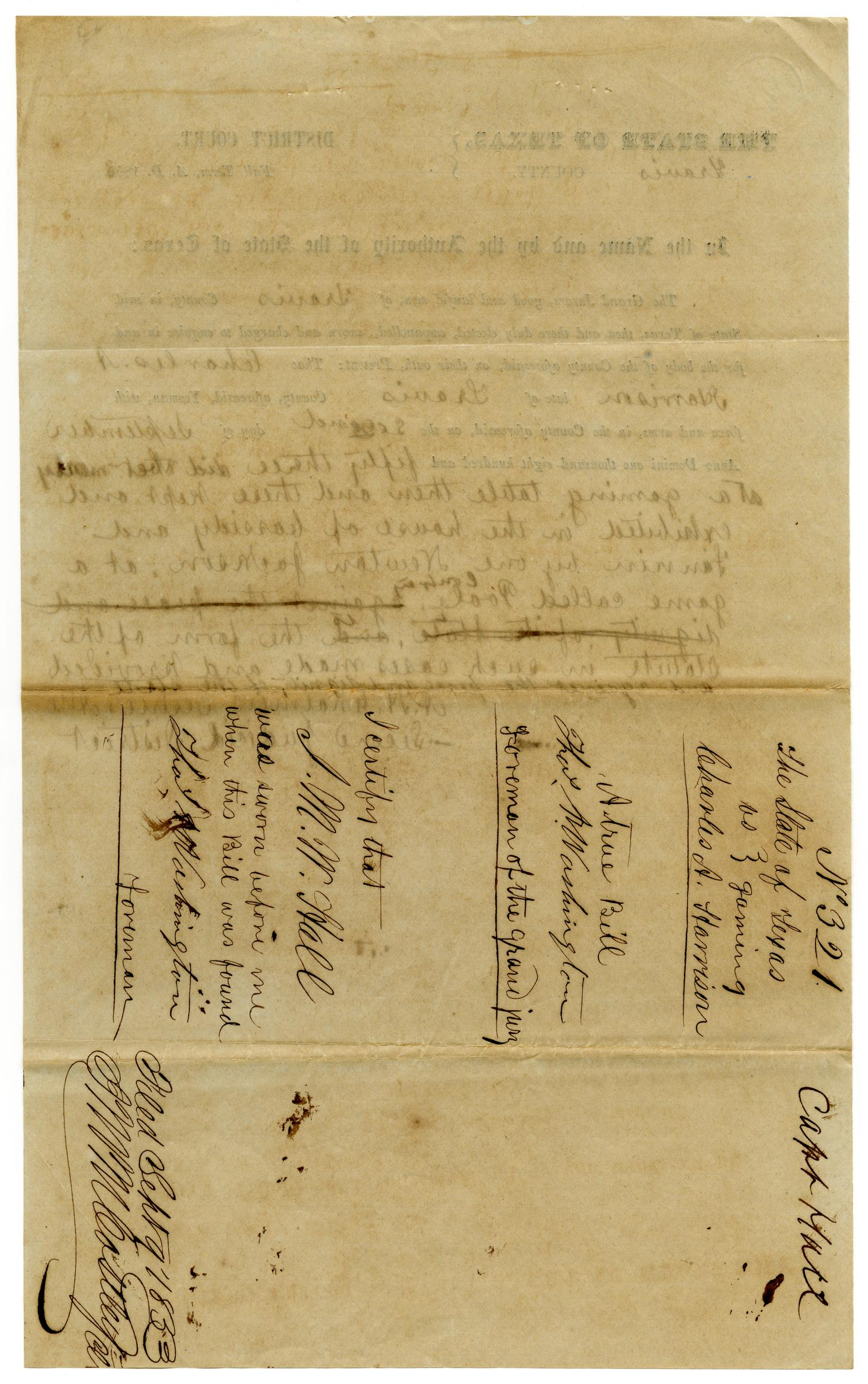 Documents pertaining to the case of The State of Texas vs. Charles A. Harrison, cause no. 321, 1853                                                                                                      [Sequence #]: 2 of 8