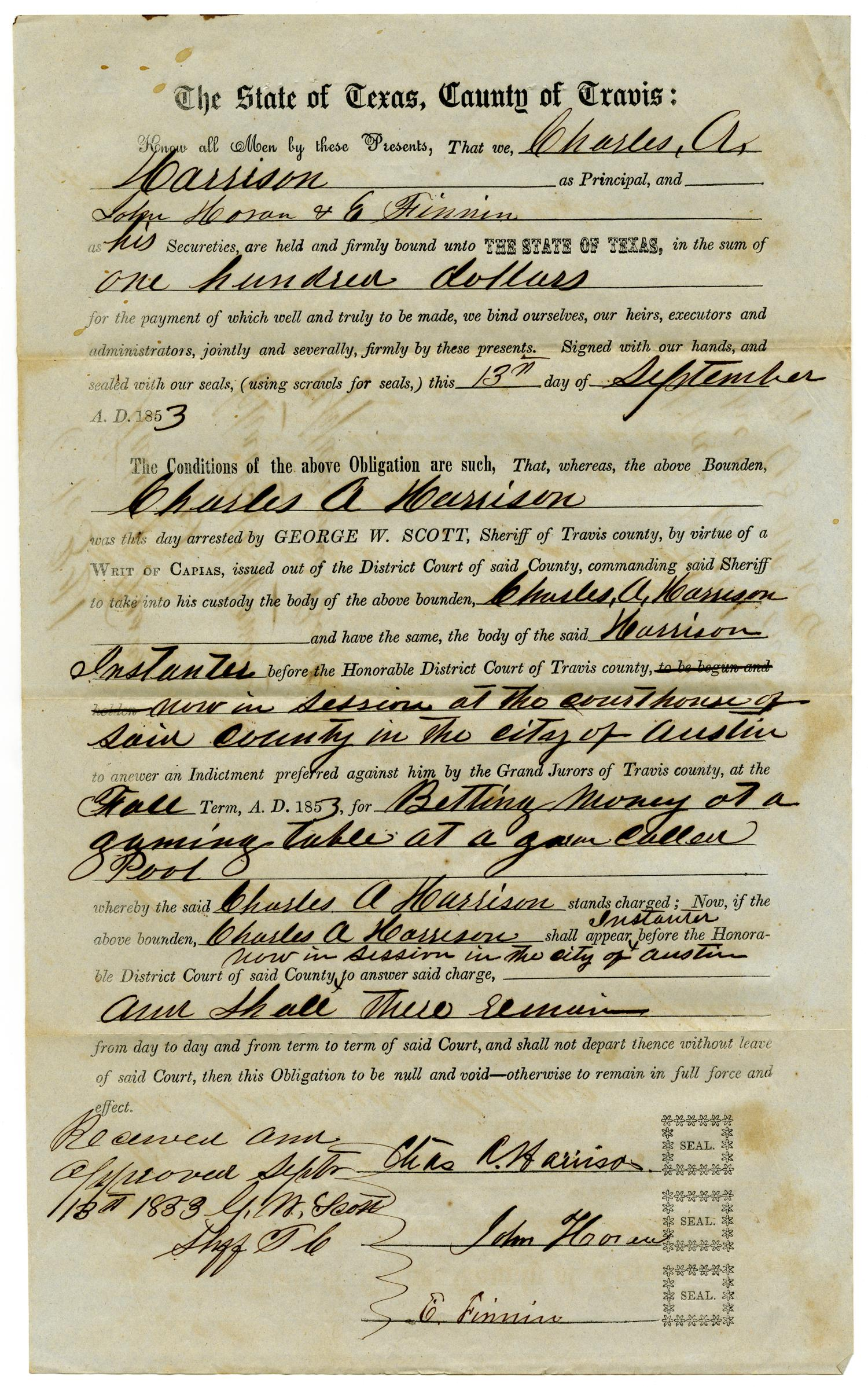 Documents pertaining to the case of The State of Texas vs. Charles A. Harrison, cause no. 321, 1853                                                                                                      [Sequence #]: 3 of 8