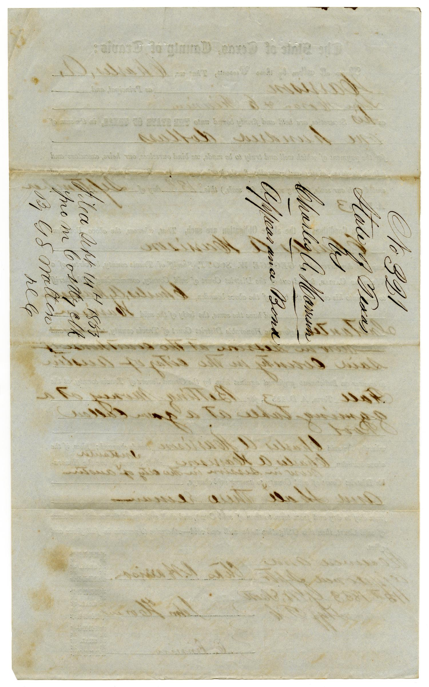 Documents pertaining to the case of The State of Texas vs. Charles A. Harrison, cause no. 321, 1853                                                                                                      [Sequence #]: 4 of 8