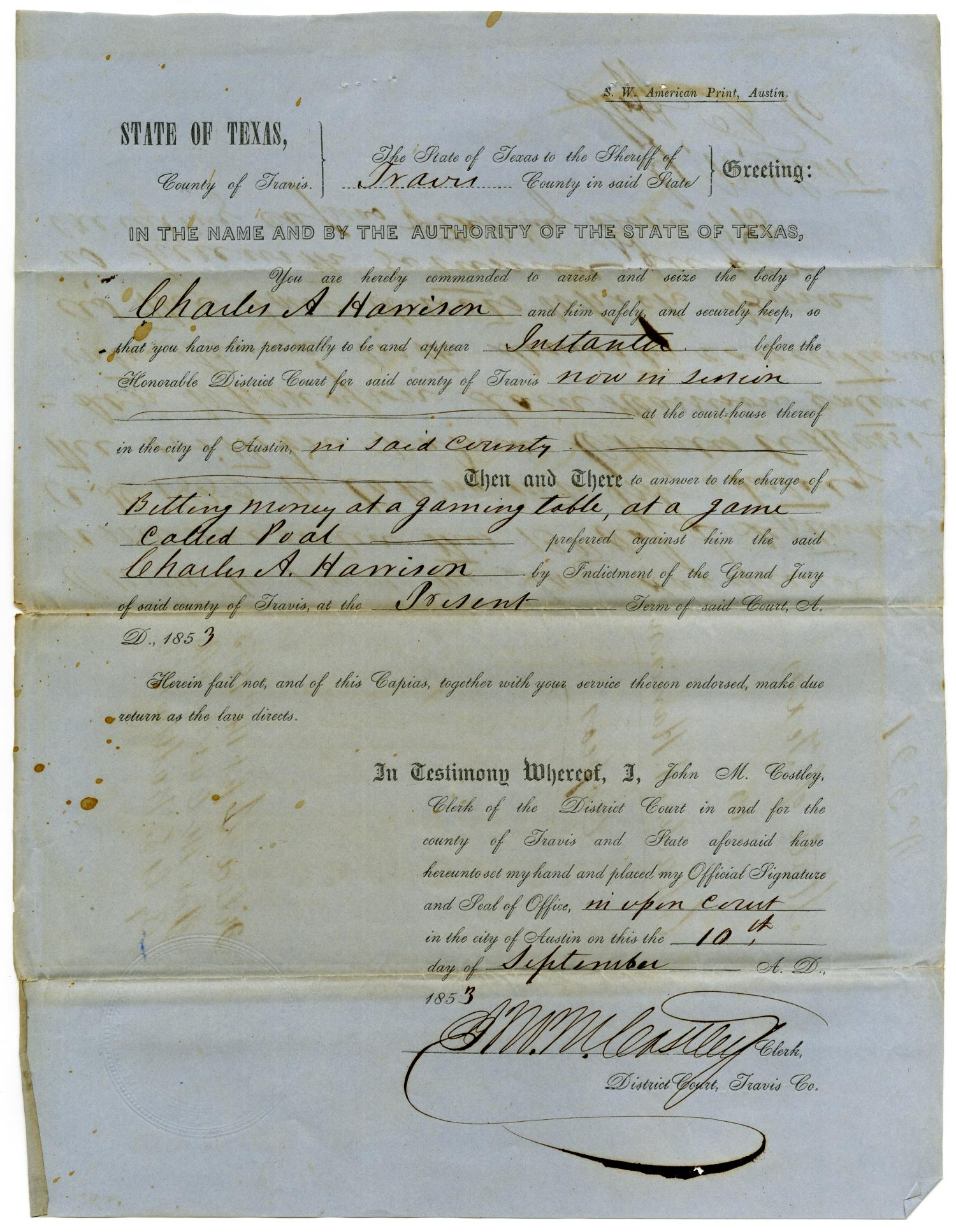 Documents pertaining to the case of The State of Texas vs. Charles A. Harrison, cause no. 321, 1853                                                                                                      [Sequence #]: 5 of 8