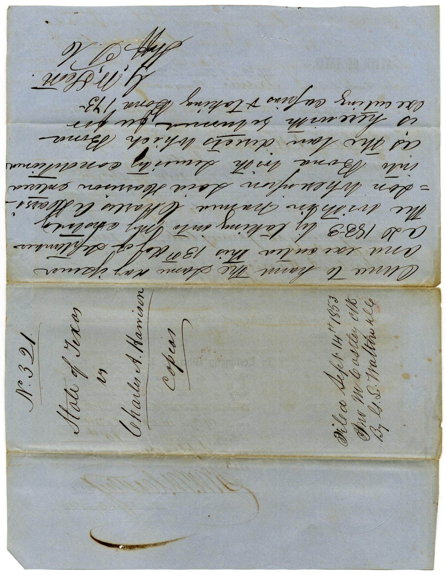 Documents pertaining to the case of The State of Texas vs. Charles A. Harrison, cause no. 321, 1853                                                                                                      [Sequence #]: 6 of 8