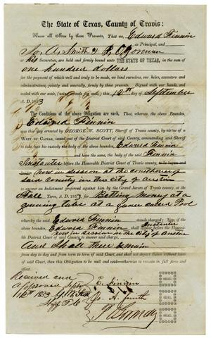 Documents pertaining to the case of The State of Texas vs. Edward Finnin, cause no. 322, 1853