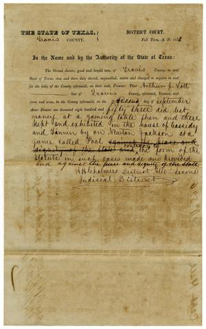 Primary view of object titled 'Documents pertaining to the case of The State of Texas vs. Arthur J. Lott, cause no. 326, 1853'.