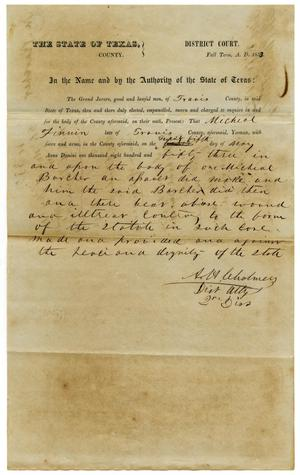 Primary view of Documents pertaining to the case of The State of Texas vs. Michael Finnin, cause no. 332, 1853