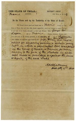 Documents pertaining to the case of The State of Texas vs. George W. Logan, cause no. 341, 1853
