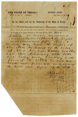 Primary view of object titled 'Documents pertaining to the case of The State of Texas vs. Hero Dalton, cause no. 342, 1853'.