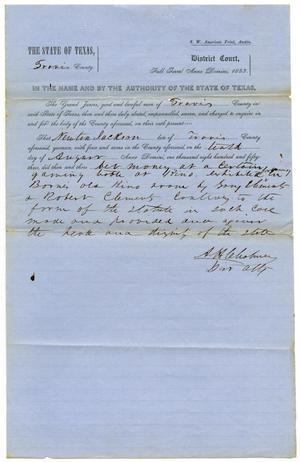Primary view of Documents pertaining to the case of The State of Texas vs. Newton Jackson, cause no. 353, 1853