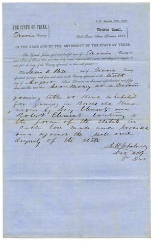 Primary view of Documents pertaining to the case of The State of Texas vs. James R. Pace, cause no. 354, 1853