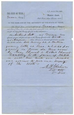 Documents pertaining to the case of The State of Texas vs. Arthur Lott, cause no. 355, 1853