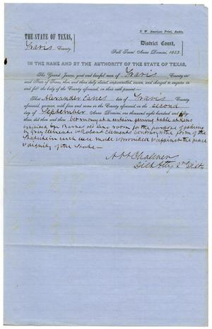 Documents pertaining to the case of The State of Texas vs. Alexander Eanes, cause no. 357, 1853