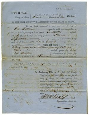 Documents pertaining to the case of The State of Texas vs. Ed Finnin, cause no. 358, 1853