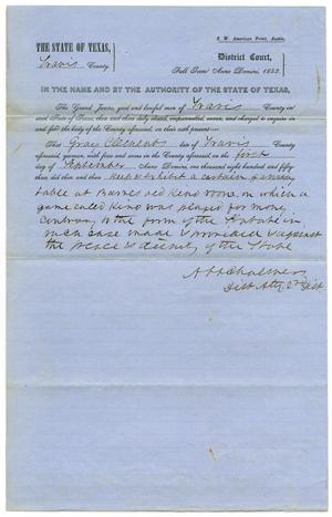 Documents pertaining to the case of The State of Texas vs. Gray Clements, cause no. 362, 1853