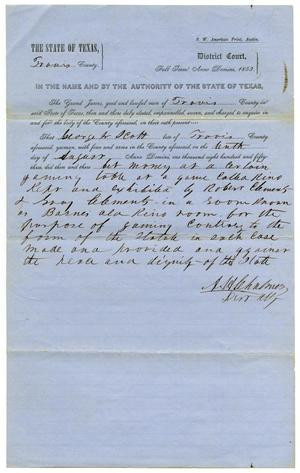 Documents pertaining to the case of The State of Texas vs. George W. Scott, cause no. 363,1853