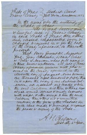 "Documents pertaining to the case of The State of Texas vs. Perry Grumbles, Augustus Fore, Gray Clements, Henry Vines and ""John"", cause no. 364, 1853"