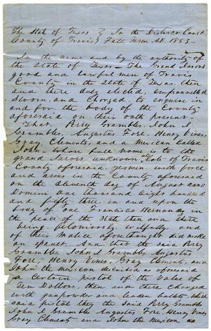 "Documents pertaining to the case of The State of Texas vs. Perry Grumbles, Augustus Fore, Gray Clements, Henry Vine, and ""John"", cause no. 365, 1853"