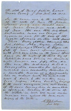Primary view of object titled 'Documents pertaining to the case of The State of Texas vs. Thomas Elgin, Owen Adkins, John Wooldridge, John Haynie, cause no. 367, 1853'.