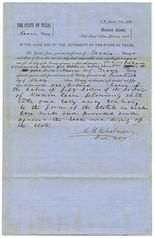 Documents pertaining to the case of The State of Texas vs. Doc Calhoun, cause no. 370, 1853