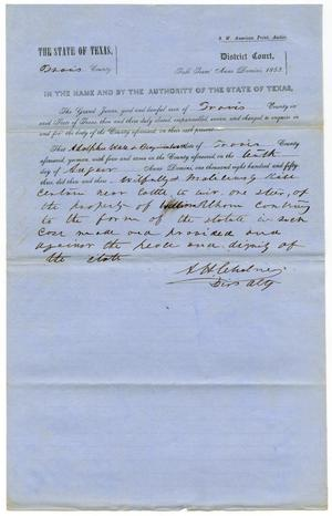 Documents pertaining to the case of The State of Texas vs. Adolphus Ware and Benjamin Ware, cause no. 371, 1853