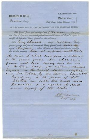 Primary view of object titled 'Documents pertaining to the case of The State of Texas vs. Gray Clements, cause no. 372, 1853'.