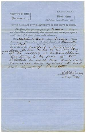 Primary view of object titled 'Documents pertaining to the case of The State of Texas vs. Aldolphus S. Ware, cause no. 375, 1853'.