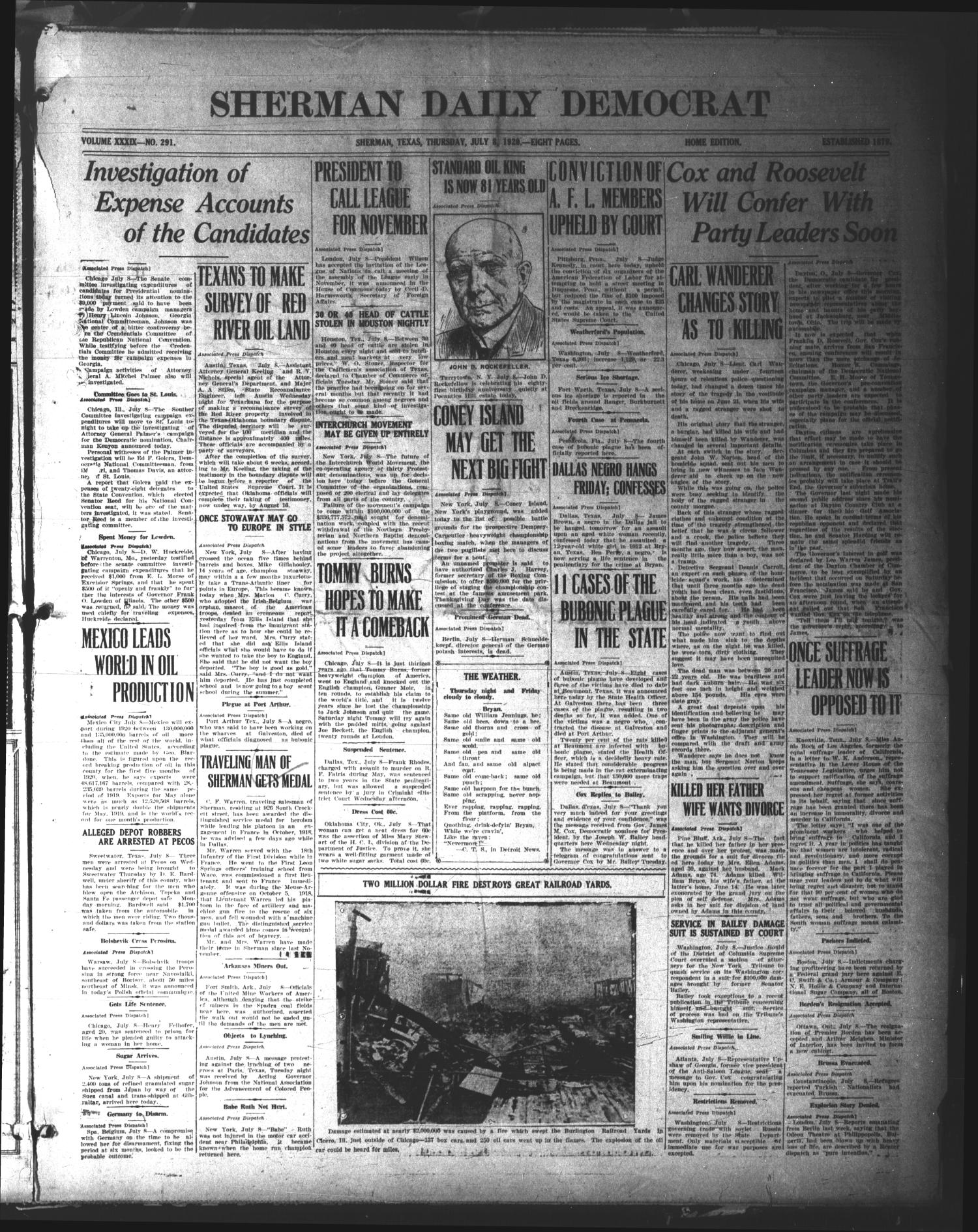 Sherman Daily Democrat (Sherman, Tex.), Vol. 39, No. 292, Ed. 1 Thursday, July 8, 1920                                                                                                      [Sequence #]: 1 of 8